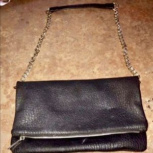 Express Black Leather Clutch